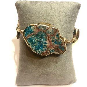NEW Bourbon and Boweties Gold Green Blue Bracelet